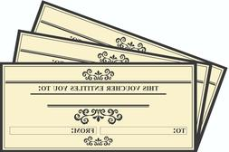 12 x Blank Gift Voucher Certificates  Generic Gift Cards DL