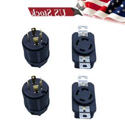 2 Pack Generator Rv Ac Plug Socket 30 Amp 120V 220V Male and