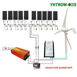 ECO Hybrid Kit:100W 200W 500W 1000W Solar Panel + 400W Wind