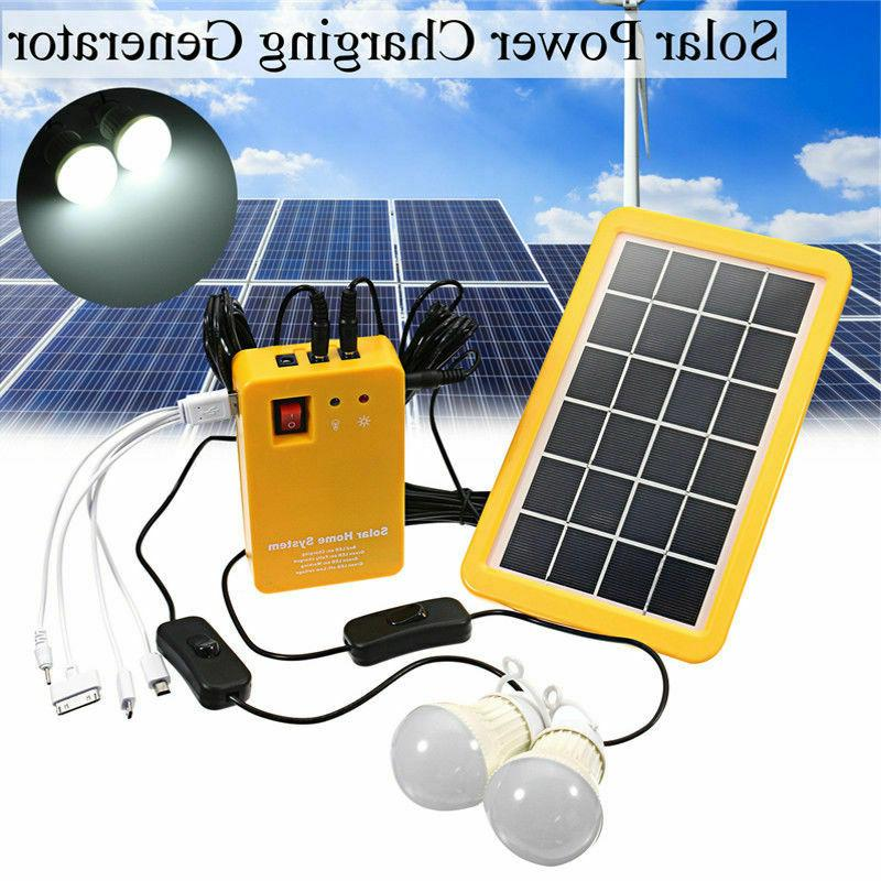 Solar Panel Generator System Portable Home Kit LED Light 12V