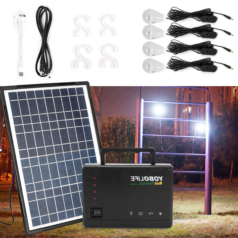 Solar Panel Kit, Portable Power Station 4 Bulb