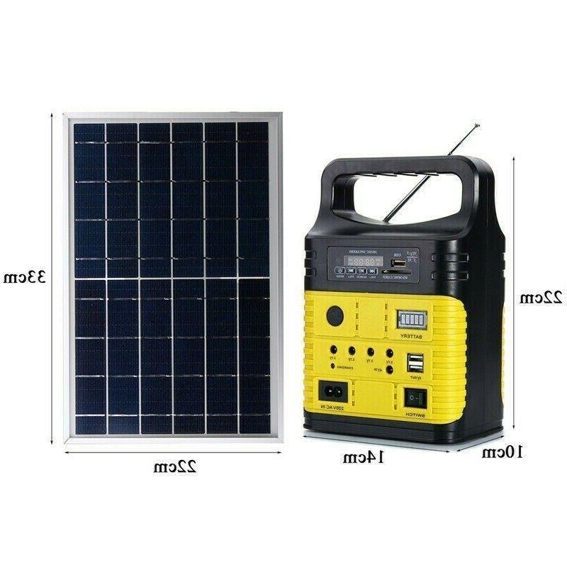 Solar Panel Generator LED Light System Outdoor Garden Green