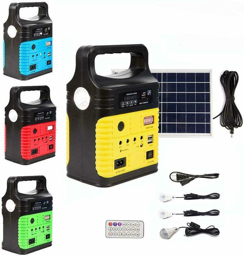 Solar Panel Generator LED Light System Green