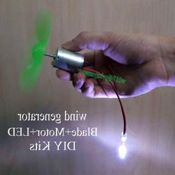 Mini Wind Turbines Generator Mini DC Motor w Blades LED For