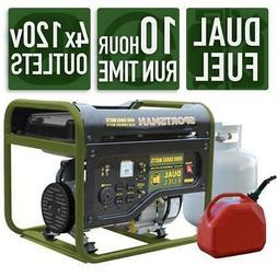 Portable Generator 4000/3500-W Dual Fuel Powered LPG/Regular