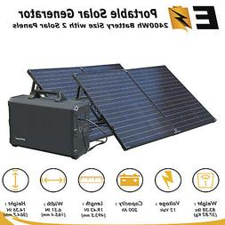 Solar Generator 2400Wh BackUp Power with 200W Solar Panels